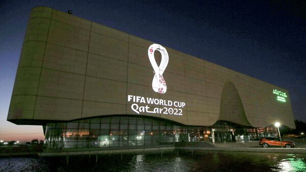 The Fifa World Cup Qatar 2022 logo is projected on the facade of the Algiers Opera House in the Algerian capital on September 3, 2019. (Photo by - / AFP)
