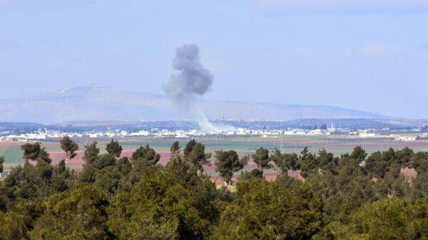 Обстрел позиций боевиков сирийской армией в провинции Алеппо
