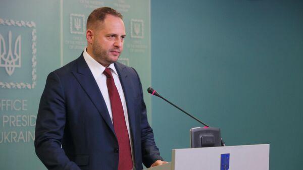 Глава администрации президента Украины Андрей Ермак на брифинге в Киеве