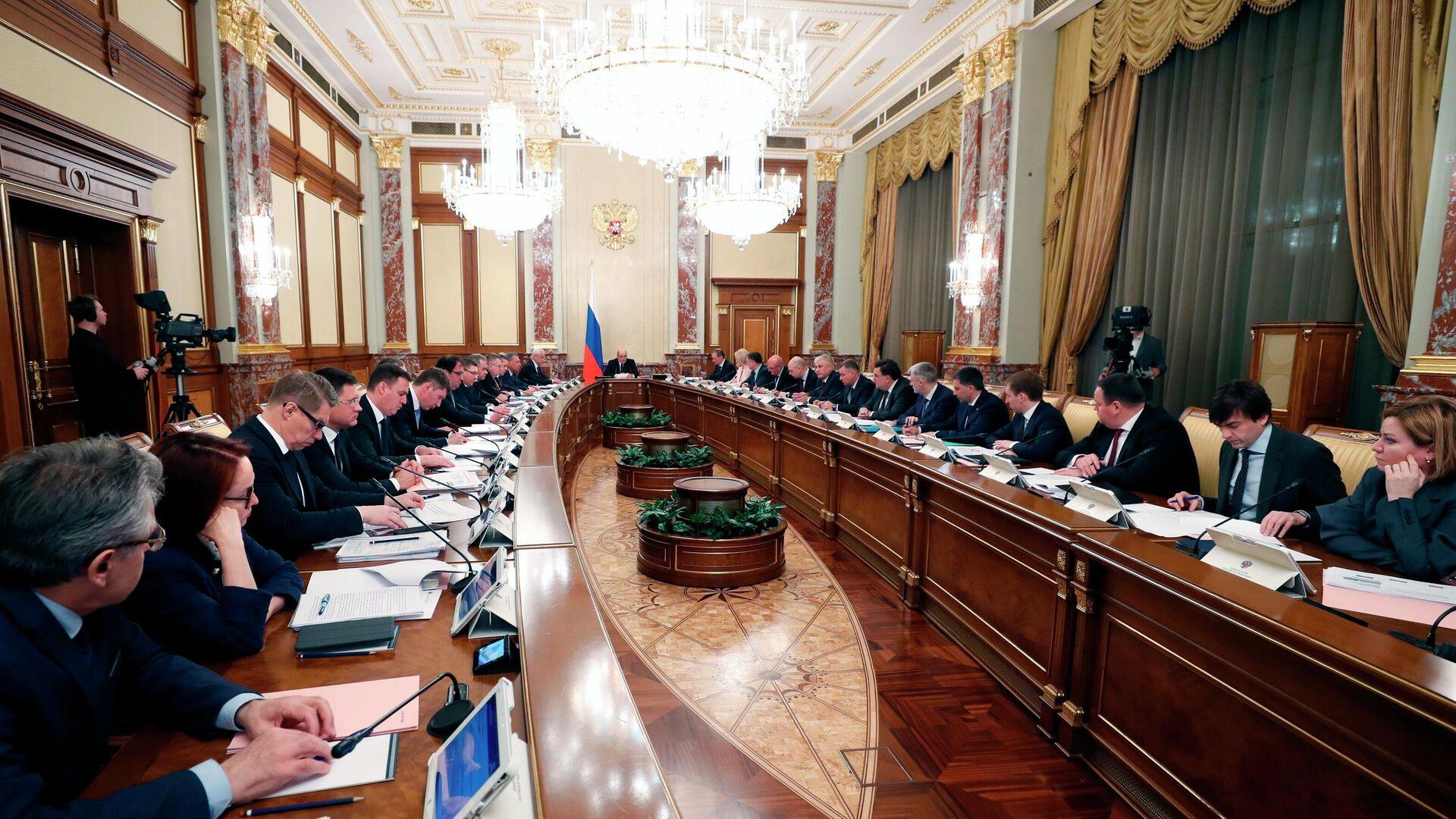 Председатель правительства РФ Михаил Мишустин проводит совещание с членами кабинета министров - РИА Новости, 1920, 06.11.2020