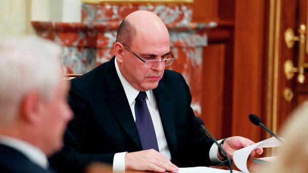 Председатель правительства РФ Михаил Мишустин во время совещания с членами кабинета министров