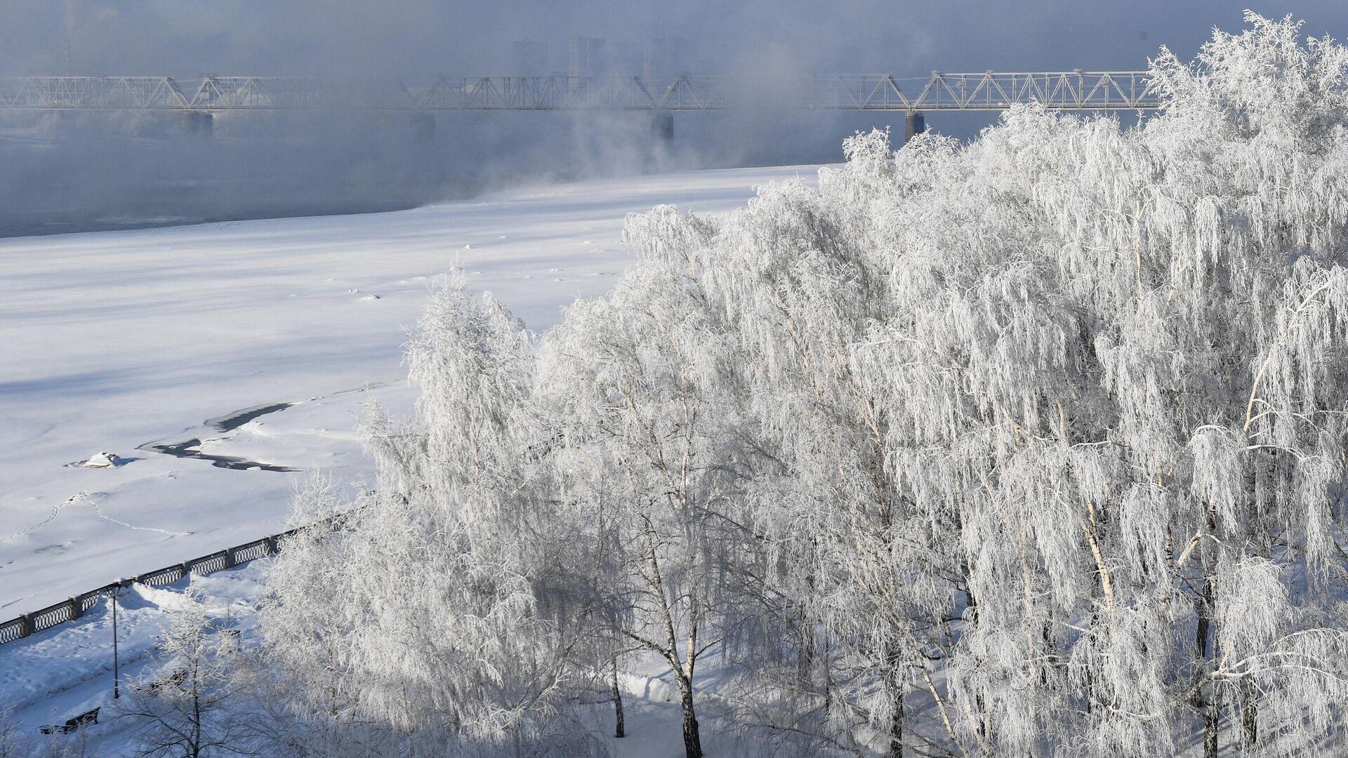 Набережная и железнодорожный мост через реку Обь в Новосибирске - РИА Новости, 1920, 11.10.2020