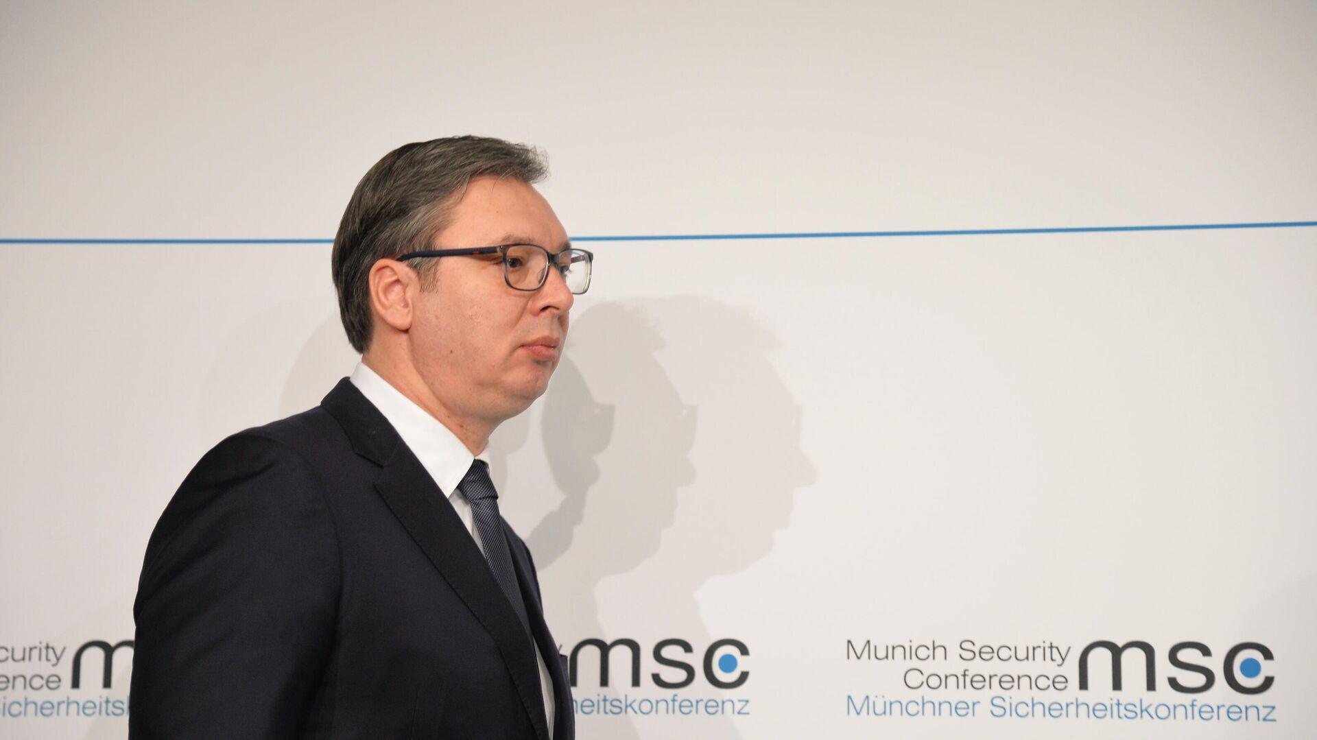 Президент Сербии Александр Вучич на Мюнхенской конференции по безопасности - РИА Новости, 1920, 04.09.2020