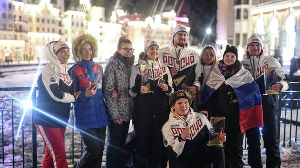 Российские призеры чемпионата мира по санному спорту в Сочи