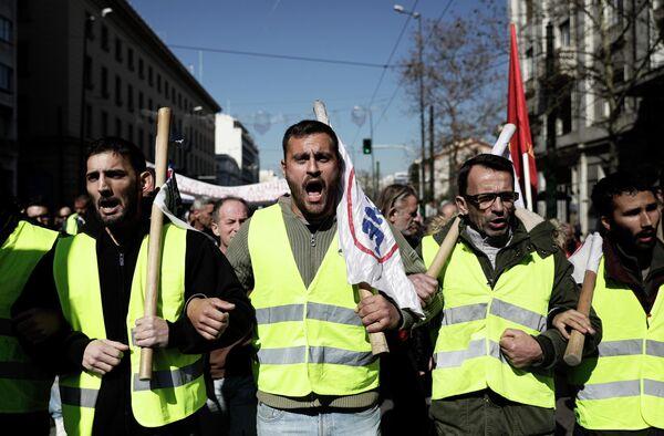 Акция протеста и забастовка в Афинах