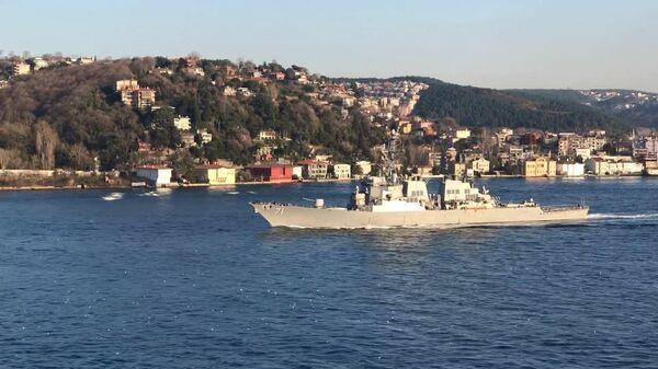 Опубликовано видео захода американского эсминца в Черное море