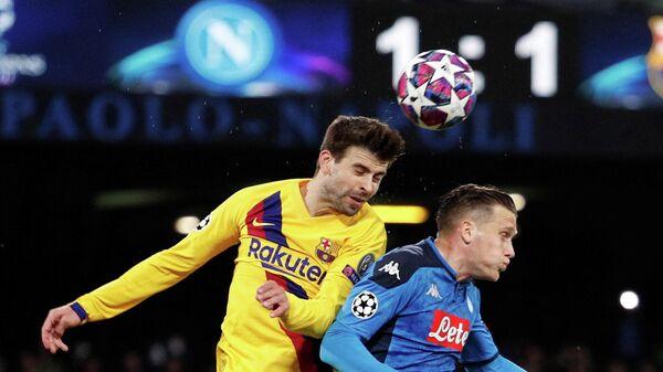 Игровой момент матча Наполи - Барселона