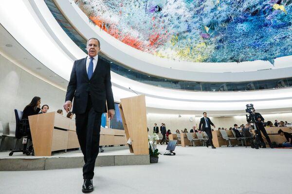 Министр иностранных дел РФ Сергей Лавров на сегменте высокого уровня 43-й сессии Совета ООН по правам человека