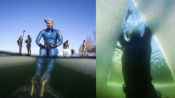 В память о маме: фридайвер проплыл подо льдом 181 метр