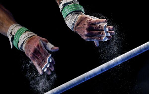 Лукаш Борковский (Польша) в квалификации соревнований по спортивной гимнастике среди мужчин II Европейских играх в Минске