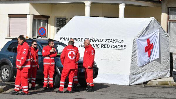 Греческие медицинские работники на границе Греции и Турции