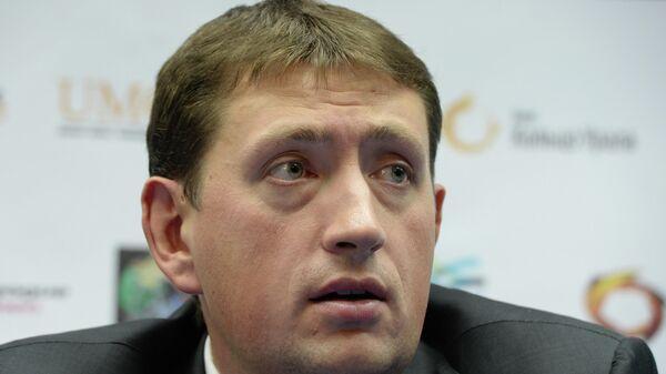 Директор баскетбольного клуба УГМК Максим Рябков во время пресс-конференции, посвященной началу европейского баскетбольного клубного сезона.