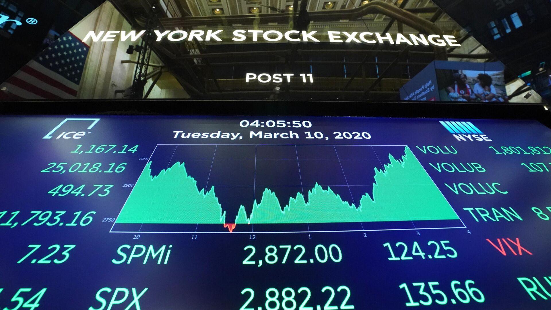 Табло с индексами котировок в зале Нью-Йоркской фондовой биржи - РИА Новости, 1920, 26.10.2020