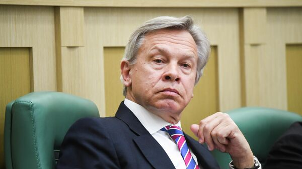 Алексей Пушков на заседании Совета Федерации РФ