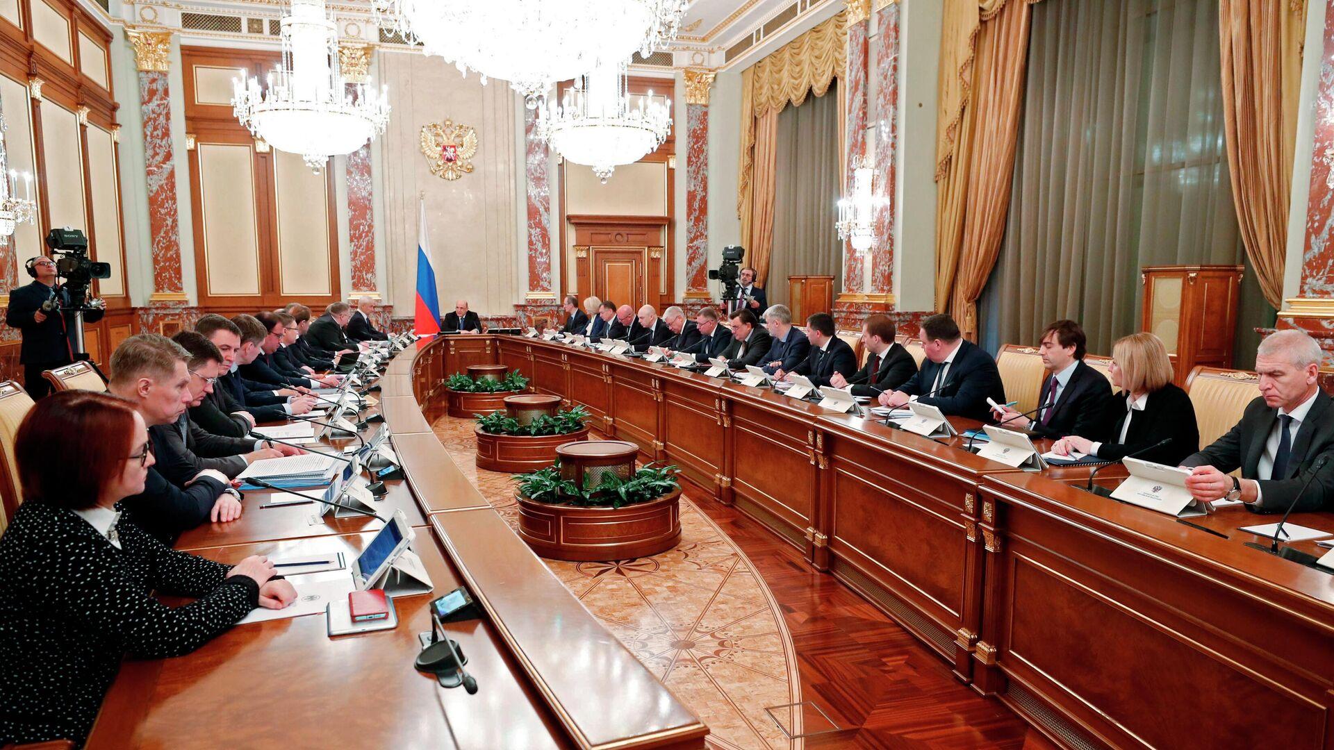 Председатель правительства РФ Михаил Мишустин проводит совещание с членами кабинета министров - РИА Новости, 1920, 04.05.2021