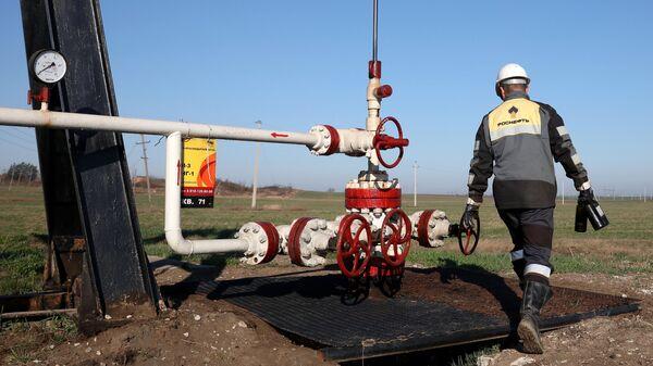 Сотрудник Роснефти осматривает оборудование