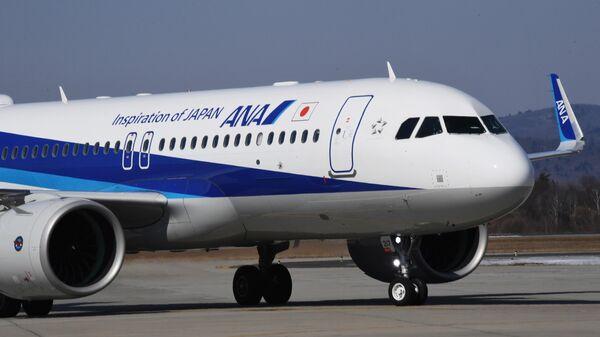 Самолет Airbus 320 японской авиакомпании All Nippon Airways (ANA), совершивший первый рейс по маршруту Токио - Владивосток