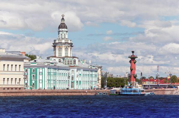 Коса Васильевского острова. Ростральная колонна и Кунсткамера