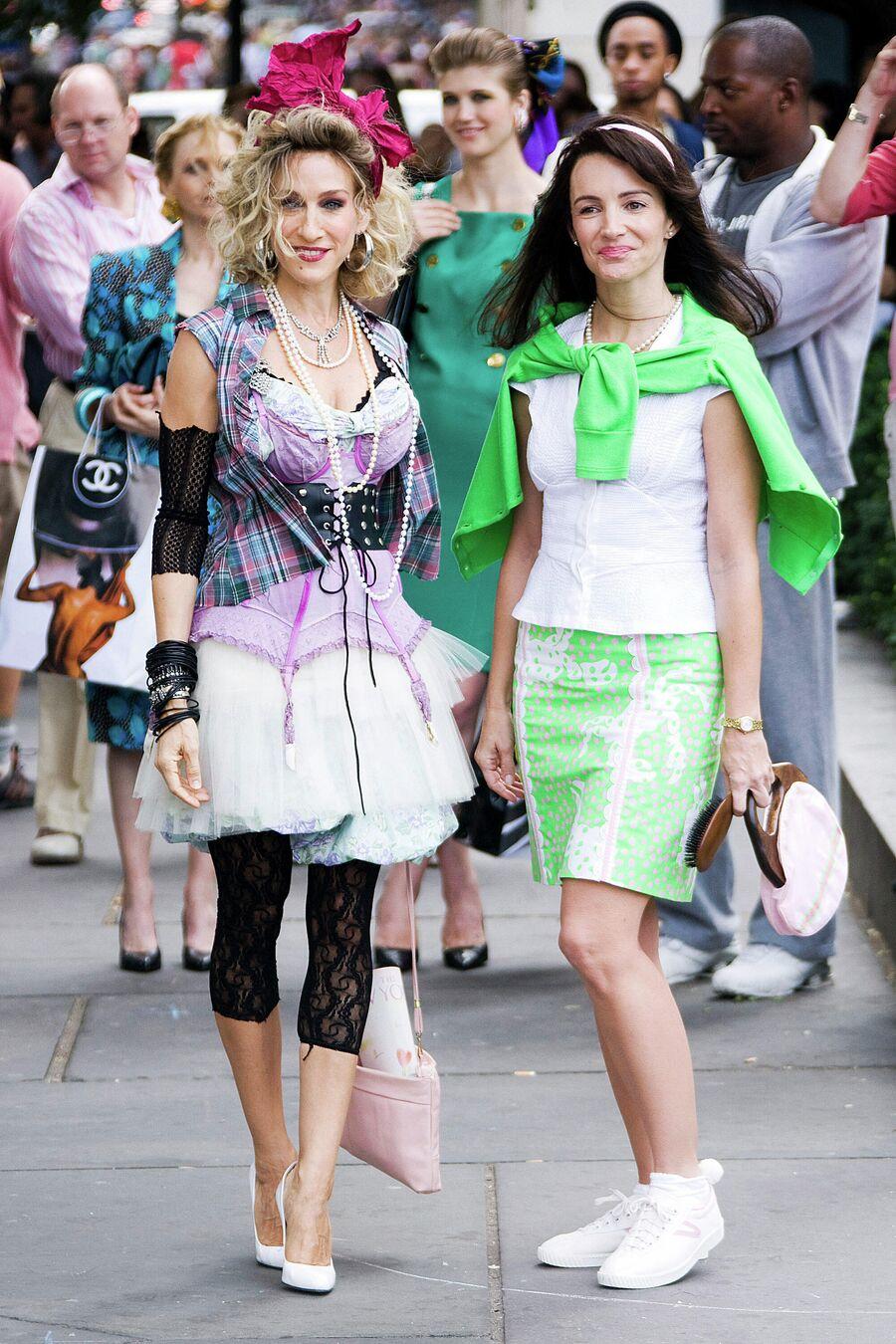 Сара Джессика Паркер и Кристен Дэвис на съемках фильма Секс в большом городе 2 в Нью-Йорке