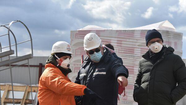 Работы на котельной коронавирусного центра в новой Москве
