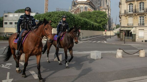 Конная полиция на улице Парижа, Франция