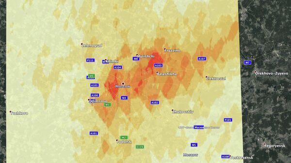 Приземные концентрации диоксида азота в Москве в период с 30 марта по 16 апреля.