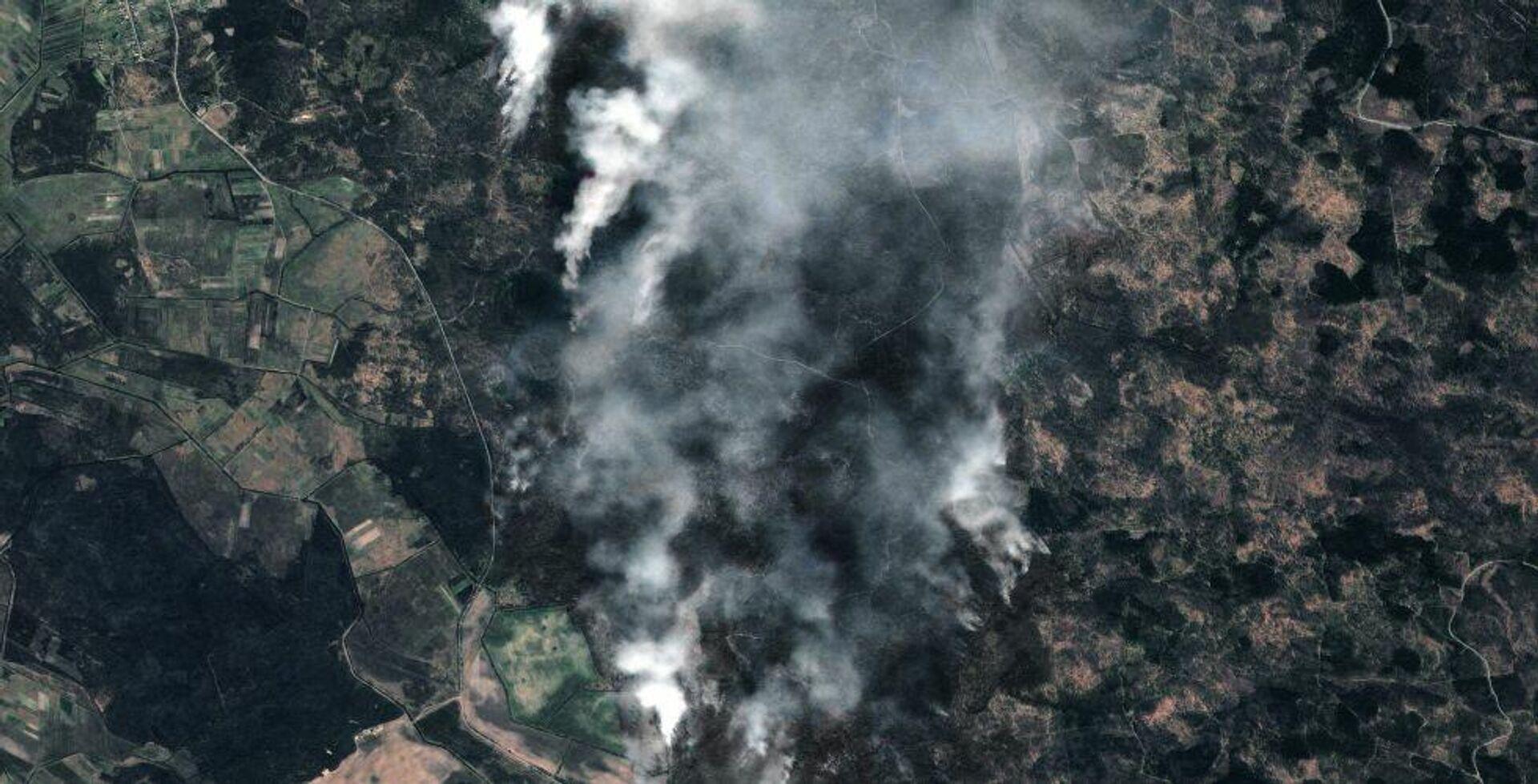 Снимок лесных пожаров в Чернобыльской зоне отчуждения, сделанный космическим аппаратом Роскосмоса - РИА Новости, 1920, 22.12.2020