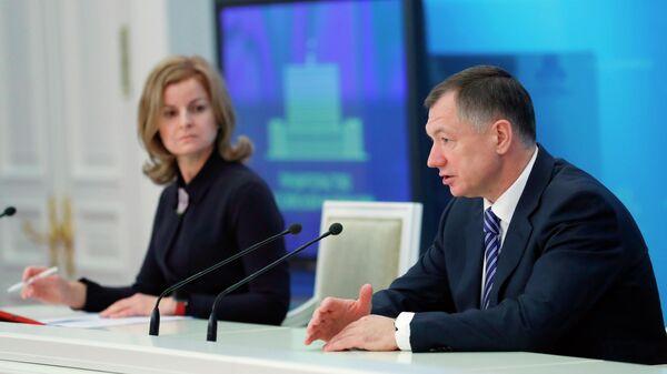 Заместитель председателя правительства РФ Марат Хуснуллин во время брифинга