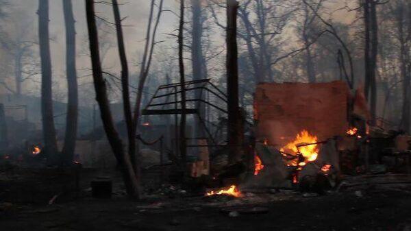 Кадры с места пожара в Воронежской области