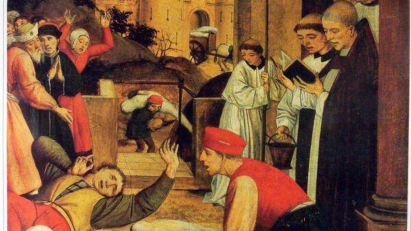 Святой Себастьян молится за жертв Юстиниановой чумы. Картина конца XV века