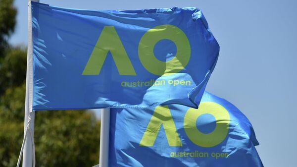 Флаги с логотипом турнира Открытого чемпионата Австралии по теннису в Мельбурне