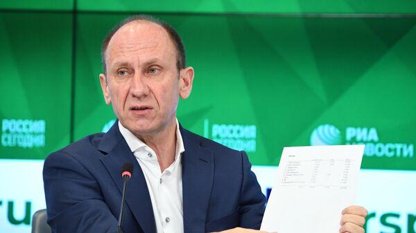 Первый вице-президент Союза биатлонистов России Алексей Нуждов на пресс-конференции в Международном мультимедийном пресс-центре МИА Россия сегодня в Москве.