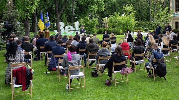 Президент Украины Владимир Зеленский во время пресс-конференции, посвященной первой годовщине пребывания на посту