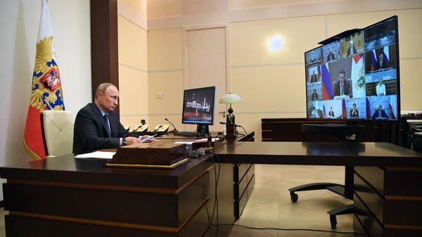 Президент РФ Владимир Путин проводит в режиме видеоконференции совещание о ситуации в сельском хозяйстве