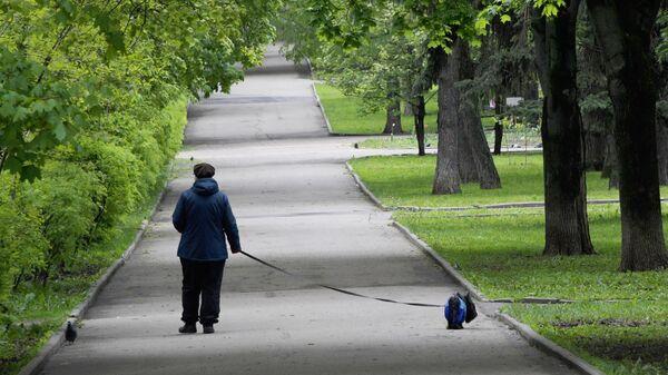 Жительница Москвы выгуливает собаку на улице Крупской