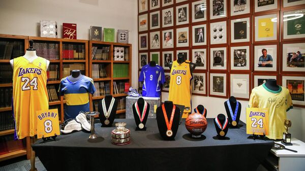 CULVER CITY, CALIFORNIA - MAY 18: Sports memorabilia is displayed at a press preview for sports legends featuring Kobe Bryant, FIFA and Olympic Medals at Juliens Auctions on May 18, 2020 in Culver City, California.   Rich Fury/Getty Images/AFP