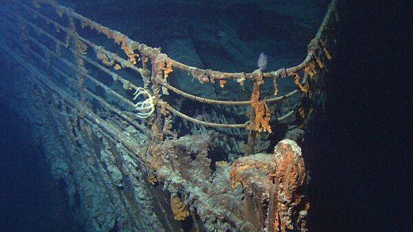 Фрагмент британского трансатлантического парохода Титаник на дне Атлантичского океана