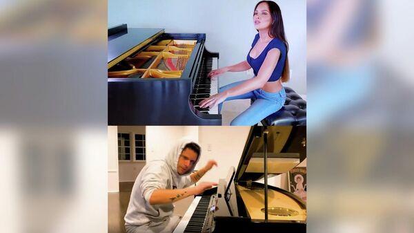 Стоп-кадр видео музыкального дуэта американской пианистки Лолы Астановой и бразильско-итальянско-американского музыканта Руди Манкузо