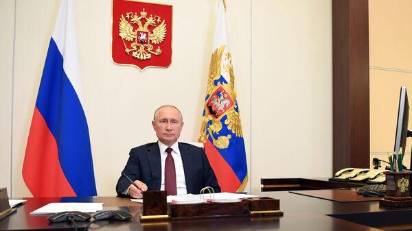 Президент РФ Владимир Путин во время встречи в режиме видеоконференции с главой МЧС Евгением Зиничевым