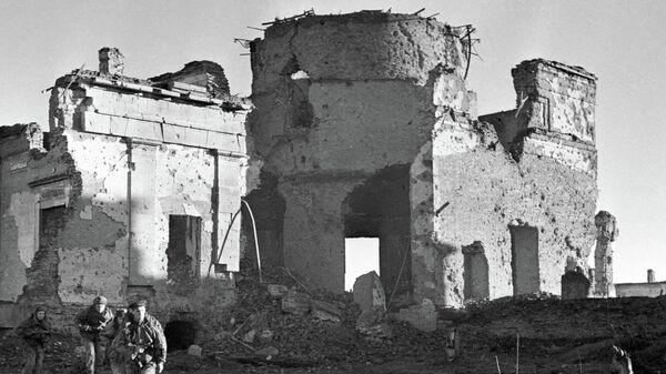 Павильон Пулковской обсерватории, разрушенный немецко-фашистскими захватчиками