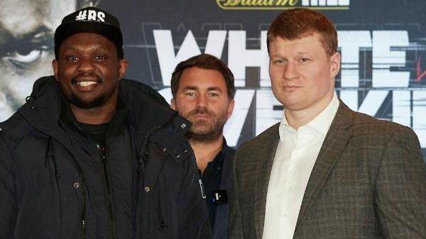 Боксеры Диллиан Уайт и Александр Поветкин на пресс-конференции