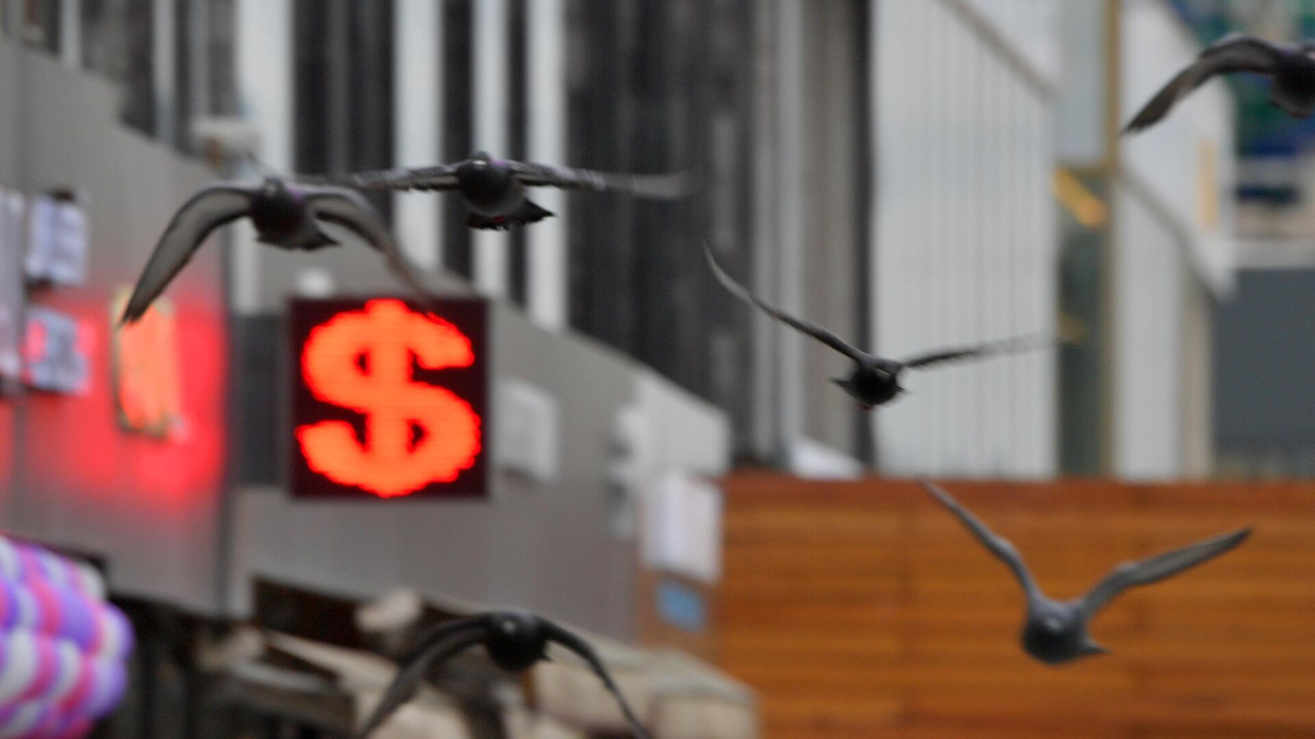 Электронное табло с символикой доллара в Москве - РИА Новости, 1920, 01.05.2021