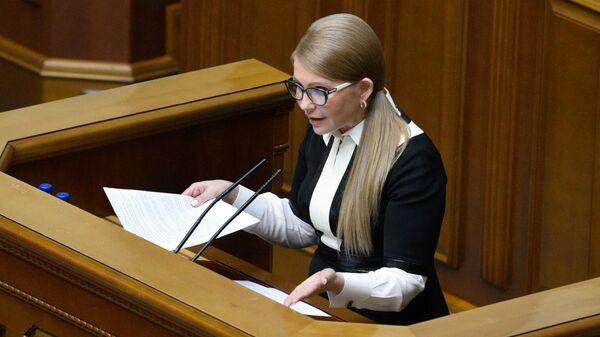 Лидер политической партии Батькивщина Юлия Тимошенко на заседании Верховной рады Украины
