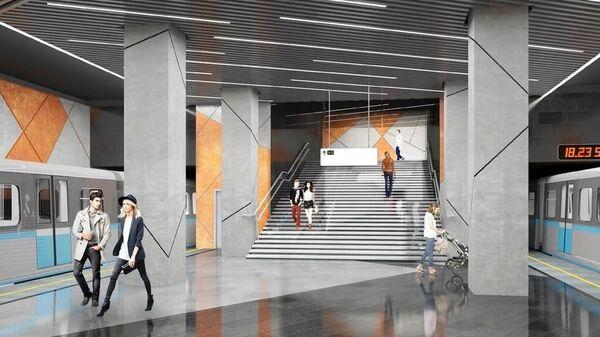 Проект строящейся станции Коммунарской линии московского метро Славянский мир