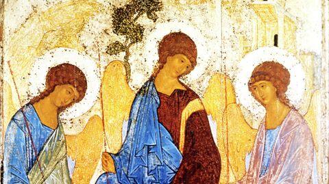 Репродукция иконы Андрея Рублева Троица Ветхозаветная