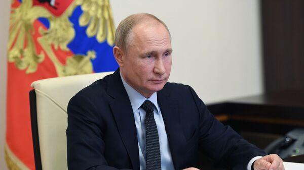 Президент РФ Владимир Путин во время встречи в режиме видеоконференции с губернатором Ленинградской области Александром Дрозденко