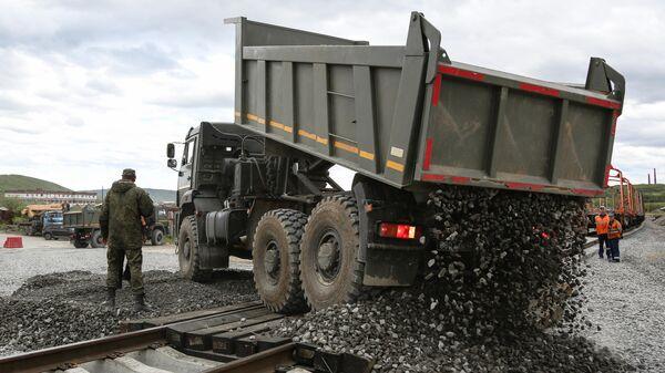 Строительство временной ветки железной дороги на перегоне Выходной-Кола в Кольском районе Мурманской области