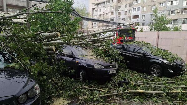 Последствия сильного ветра с дождем в Днепре, Украина