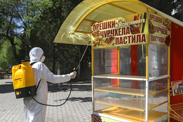 Сотрудник национального парка Кисловодский проводит дезинфекцию парковой территории