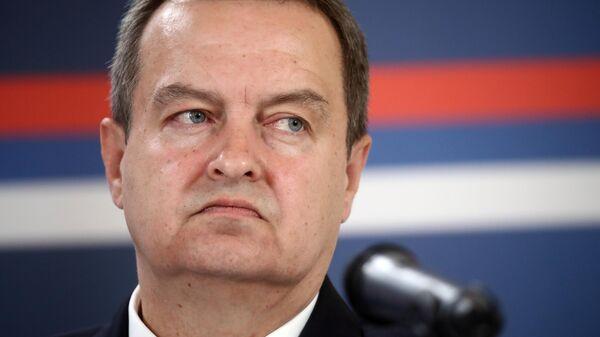 Министр иностранных дел Республики Сербии Ивиц Дачич во время совместной с министром иностранных дел РФ Сергеем Лавровым пресс-конференции по итогам встречи в Белграде